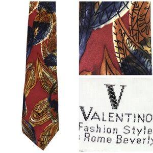 VINTAGE Valentino Silk Paisley Watercolor Tie